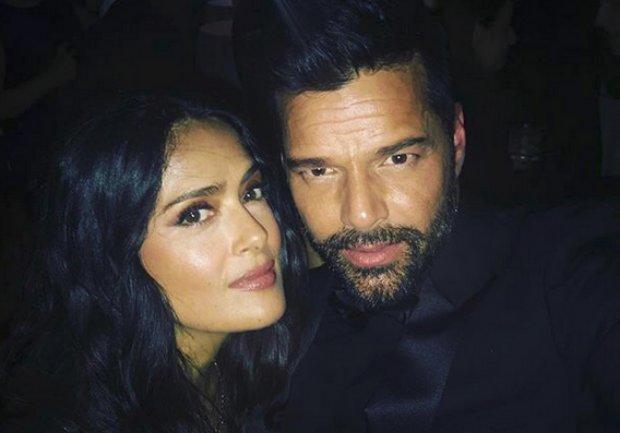 Salma Hayek y Ricky Martin muy juntos en la gala de los Golden Globes