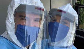 Julio Camejo y Mariana Seoane donan equipo de protección al ISSSTE