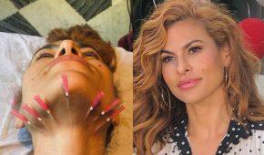 Eva Mendes publica imagen de su cuello perforado por agujas