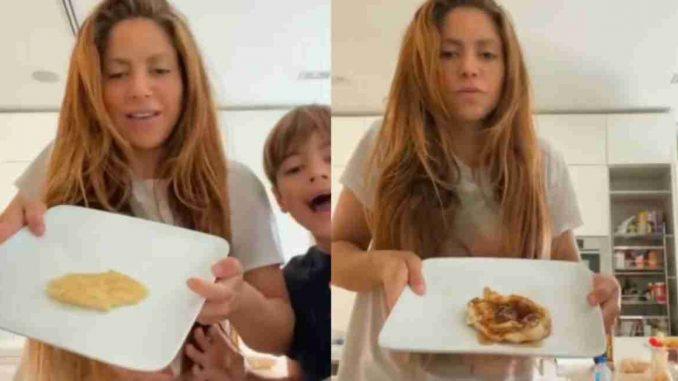 Shakira haciendo pancakes